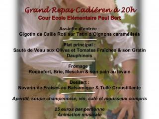 Repas Cadiéren le 27/08 à 20h