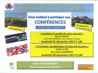 Conférences 1 et 8/12 à 18h