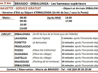 Tpts - Bus Gratuit : Erbalunga-Brando (A-R) - Cap Corse Capicorsu